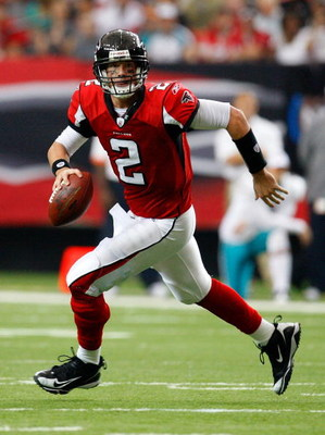 ATLANTA - SEPTEMBER 13:  Quarterback Matt Ryan #2 of the Atlanta Falcons rolls out against the Miami Dolphins at Georgia Dome on September 13, 2009 in Atlanta, Georgia.  (Photo by Kevin C. Cox/Getty Images)