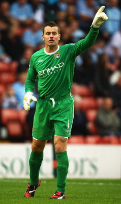 BARNSLEY, ENGLAND - AUGUST 01:  Shay Given of Manchester City in action during the Pre Season Friendly match between Barnsley and Manchester City at the Oakwell Stadium on August 1, 2009 in Barnsley, England.  (Photo by Matthew Lewis/Getty Images)