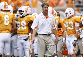 KNOXVILLE, TN - SEPTEMBER 12: Lane Kiffin, head coach of the Tennessee Volunteers looks on before a game against the UCLA Bruins on September 12, 2009 at Neyland Stadium in Knoxville, Tennessee. (Photo by Joe Murphy/Getty Images)