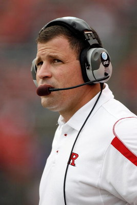 PISCATAWAY, NJ - SEPTEMBER 27:  Head Coach Greg Schiano of the Rutgers Scarlet Knights during the first quarter against the Morgan State Bears at Rutgers Stadium on September 27, 2008 in Piscataway, New Jersey.  (Photo by Jarrett Baker/Getty Images)