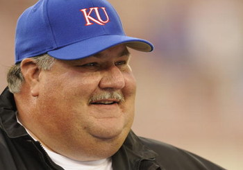 TAMPA, FL - SEPTEMBER 12: Coach Mark Mangino of the Kansas University Jayhawks directs play against the University of South Florida Bulls at Raymond James Stadium on September 12, 2008 in Tampa, Florida.  (Photo by Al Messerschmidt/Getty Images)
