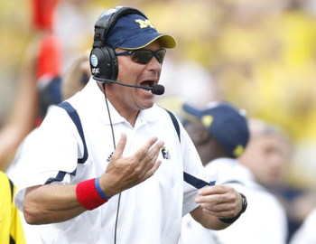 ANN ARBOR, MI - SEPTEMBER 05:  Head coach Rich Rodriguez yells for the sideline while playing the Western Michigan Broncos vs. Michigan Wolverines on September 5, 2009 at Michigan Stadium in Ann Arbor, Michigan.  (Photo by Gregory Shamus/Getty Images)