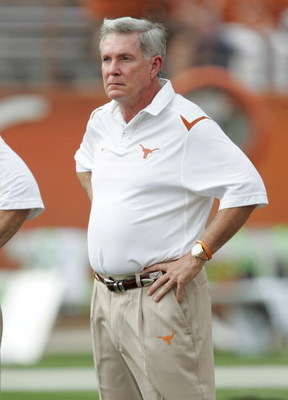 AUSTIN, TX - SEPTEMBER 5:  Head Coach Mac Brown of the Texas Longhorns looks on during warm-up prior to their game against the Louisiana Monroe Warhawks on September 5, 2009 at Darrell K Royal-Texas Memorial Stadium in Austin, Texas. The Longhorns defeate