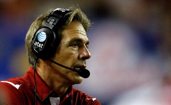 ATLANTA - SEPTEMBER 05:  Head coach Nick Saban of the Alabama Crimson Tide looks on against the Virginia Tech Hokies during the Chick-fil-A Kickoff Game at Georgia Dome on September 5, 2009 in Atlanta, Georgia.  (Photo by Kevin C. Cox/Getty Images)