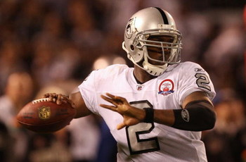OAKLAND, CA - SEPTEMBER 14: Quarterback JaMarcus Russell #2 of the Oakland Raiders throws a pass against the San Diego Chargers on September 14, 2009 at the Oakland-Alameda County Coliseum in Oakland, California.  (Photo by Ezra Shaw/Getty Images)