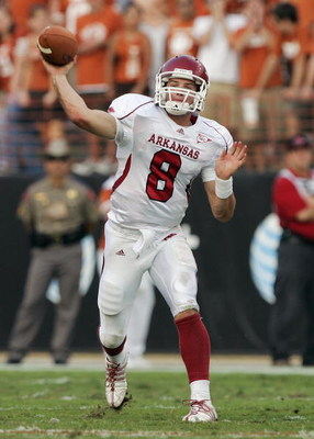 AUSTIN, TX - SEPTEMBER 27:  Quarterback Tyler Wilson #8 of the Arkansas Razorbacks passes the ball during the game against the Texas Longhorns on September 27, 2008 at Darrell K Royal-Texas Memorial Stadium in Austin, Texas.  Texas won 52-10.  (Photo by B