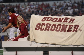 ARLINGTON, TX - SEPTEMBER 05:  The Oklahoma Sooner Schooner at Cowboys Stadium on September 5, 2009 in Arlington, Texas.  (Photo by Ronald Martinez/Getty Images)