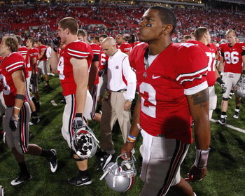 COLUMBUS, OH - SEPTEMBER 13:  Terrelle Pryor #2 of the Ohio State Buckeyes leaves the field after losing 18-15 to the Southern California Trojans on September 13, 2009 at Ohio Stadium in Columbus, Ohio.  (Photo by Gregory Shamus/Getty Images)