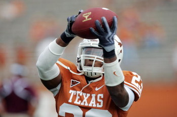 AUSTIN, TX - SEPTEMBER 5:  RunningbackTre' Newton #23 of the Texas Longhorns catches the ball during warm-up prior to their game against the Louisiana Monroe Warhawks on September 5, 2009 at Darrell K Royal-Texas Memorial Stadium in Austin, Texas. The Lon