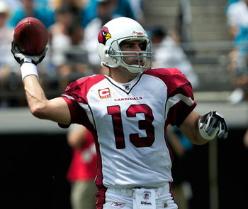 JACKSONVILLE, FL - SEPTEMBER 20:  Kurt Warner #13 of the Arizona Cardinals attempts a pass during the game against the Jacksonville Jaguars at Jacksonville Municipal Stadium on September 20, 2009 in Jacksonville, Florida.  (Photo by Sam Greenwood/Getty Im