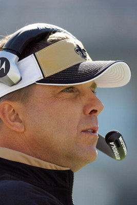 CHARLOTTE, NC - OCTOBER 19:  Head coach Sean Payton of the New Orleans Saints looks on from the sidelines during the game against the Carolina Panthers at Bank of America Stadium on October 19, 2008 in Charlotte, North Carolina.  (Photo by Kevin C. Cox/Ge