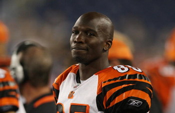 FOXBORO, MA - AUGUST 20:  Chad Ochocinco #85 of the Cincinnati Bengals looks on against the New England Patriots during their preseason game at Gillette Stadium on August 20, 2009 in Foxboro, Massachusetts.  (Photo by Jim Rogash/Getty Images)