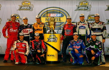 RICHMOND, VA - SEPTEMBER 12:  (Back row from L-R) Tony Stewart, driver of the #14 Office Depot Chevrolet, Carl Edwards, driver of the #99 Aflac Ford, Greg Biffle, driver of the #16 3M Ford, Mark Martin, driver of the #5 Kellogg's Chevrolet, Jimmie Johnson