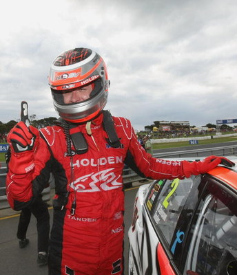 PHILLIP ISLAND, AUSTRALIA - SEPTEMBER 13:  Garth Tander of the Holden Racing Team celebrates after winning race 17 for round nine of the V8 Supercar Championship Series at the Phillip Island Grand Prix Circuit on September 13, 2009 in Phillip Island, Aust