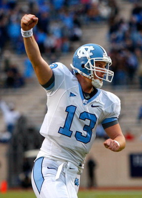 DURHAM, NC - NOVEMBER 29:  Quarterback T.J. Yates #13 of the North Carolina Tar Heels celebrates after a touchdown against the Duke Blue Devils during the game at Wallace Wade Stadium on November 29, 2008 in Durham, North Carolina.  (Photo by Kevin C. Cox