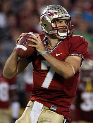 ORLANDO, FL - DECEMBER 27:  Christian Ponder #7 of the Florida State Seminoles attempts a pass during the Champs Bowl against the Wisconsin Badgers on December 27, 2008 at the Citrus Bowl in Orlando, Florida.  (Photo by Sam Greenwood/Getty Images)