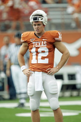 AUSTIN, TX - SEPTEMBER 5:  Quarterback Colt McCoy #12 of the Texas Longhorns looks on during their game against the Louisiana Monroe Warhawks on September 5, 2009 at Darrell K Royal-Texas Memorial Stadium in Austin, Texas. The Longhorns defeated the Warha