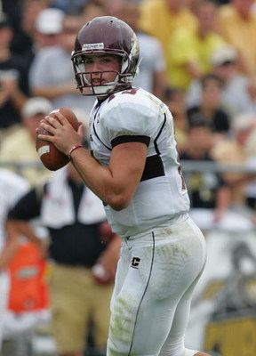 WEST LAFAYETTE, IN - SEPTEMBER 20:  Quarterback Dan LeFevour #13 of the Central Michigan Chippewas during play against the Purdue Boilermakers at Ross-Ade Stadium on September 20, 2008 in West Lafayette, Indiana.  (Photo by Ronald Martinez/Getty Images)