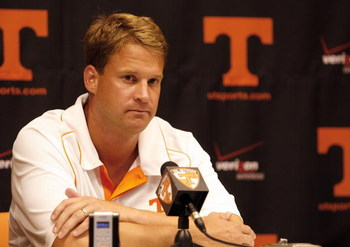 KNOXVILLE, TN - SEPTEMBER 12: Lane Kiffin, head coach of the Tennessee Volunteers talks in the press conference after a game against the UCLA Bruins on September 12, 2009 at Neyland Stadium in Knoxville, Tennessee. UCLA beat Tennessee 19-15. (Photo by Joe