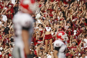 COLUMBIA, SC - SEPTEMBER 13:  A South Carolina Gamecocks' cheerleader performs during the game against the Georgia Bulldogs at Williams-Brice Stadium in Columbia, South Carolina on September 13, 2008.  (Photo by Streeter Lecka/Getty Images)
