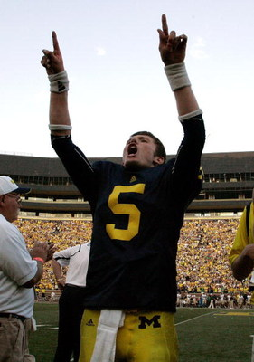ANN ARBOR, MI - SEPTEMBER 12:  Quarterback Tate Forcier #5 celebrates with seconds left in the game against Notre Dame at Michigan Stadium on September 12, 2009 in Ann Arbor, Michigan.  (Photo by Domenic Centofanti/Getty Images)