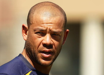 BRISBANE, AUSTRALIA - SEPTEMBER 18:  Former Australian cricketer Andrew Symonds looks on during a Brisbane Broncos NRL training session at the Brisbane Broncos League Club in Red Hill on September 18, 2009 in Brisbane, Australia.  (Photo by Mark Dadswell/