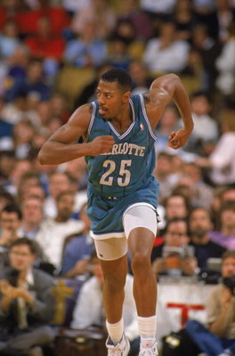 CHARLOTTE, NC - 1989:  Earl Cureton #25 of the Charlotte Hornets runs on the court during an NBA game at Charlotte Colesium in 1989. (Photo by Tim Defrisco/Getty Images)