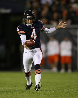 CHICAGO - AUGUST 22: Brad Maynard #4 of the Chicago Bears punts the ball against the New York Giants during a pre-season game on August 22, 2009 at Soldier Field in Chicago, Illinois. The Bears defeated the Giants 17-3. (Photo by Jonathan Daniel/Getty Ima