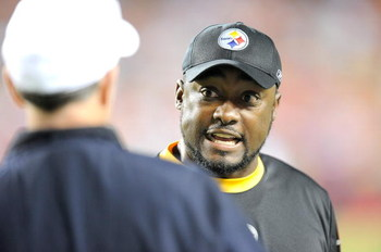 LANDOVER, MD - AUGUST 22:  Head coach Mike Tomlin of the Pittsburgh Steelers argues with an official during the game against the Washington Redskins at Fed Ex Field on August 22, 2009 in Landover, Maryland.  (Photo by Greg Fiume/Getty Images)