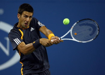 NEW YORK - SEPTEMBER 07:  Novak Djokovic of Serbia returns a shot against Radek Stepanek of the Czech Republic during day eight of the 2009 U.S. Open at the USTA Billie Jean King National Tennis Center on September 7, 2009 in the Flushing neighborhood of 