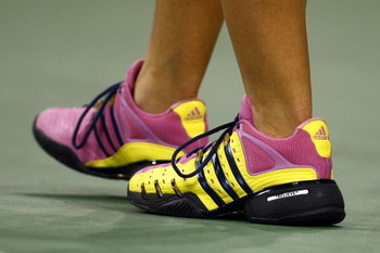 NEW YORK - SEPTEMBER 09:  A shot of Melanie Oudin's tennis shoes during her match against Caroline Wozniacki of Denmark during day ten of the 2009 U.S. Open at the USTA Billie Jean King National Tennis Center on September 9, 2009 in the Flushing neighborh
