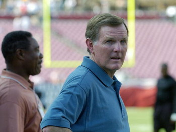Former Miami Dolphins quarterback Bob Griese watches warmups      at Raymond James Stadium  before a preseason game August 28, 2004.  (Photo by Al Messerschmidt/Getty Images)