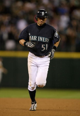SEATTLE - SEPTEMBER 18:  Ichiro Suzuki #51 of the Seattle Mariners rounds the bases after hitting a game winning two-run homer in the bottom of the ninth inning to defeat the New York Yankees 3-2 on September 18, 2009 at Safeco Field in Seattle, Washingto