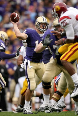 SEATTLE - SEPTEMBER 19:  Quarterback Jake Locker #10 of the Washington Huskies passes against the USC Trojans on September 19, 2009 at Husky Stadium in Seattle, Washington. The Huskies defeated the Trojans 16-13. (Photo by Otto Greule Jr/Getty Images)