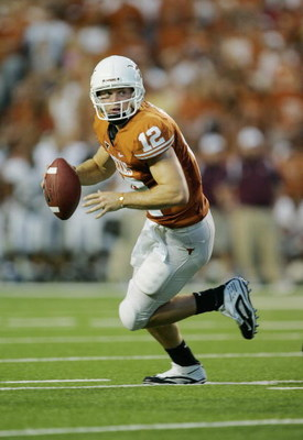 AUSTIN, TX - SEPTEMBER 5:  Quarterback Colt McCoy #12 of the Texas Longhorns runs out of the pocket against the Louisiana Monroe Warhawks on September 5, 2009 at Darrell K Royal-Texas Memorial Stadium in Austin, Texas. The Longhorns defeated the Warhawks
