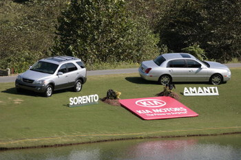 UNITED STATES - SEPTEMBER 30:  A Kia display on the 17th hole during the second round of the Greater Hickory Classic at Rock Barn held at Rock Barn Golf & Spa in Conover, North Carolina, on September 30, 2006.  (Photo by Chris Condon/Getty Images)
