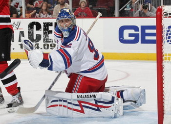 NEWARK, NJ - SEPTEMBER 16: Chad Johnson #96 of the New York Rangers tends net against the New Jersey Devils at the Prudential Center on September 16, 2009 in Newark, New Jersey. (Photo by Bruce Bennett/Getty Images)