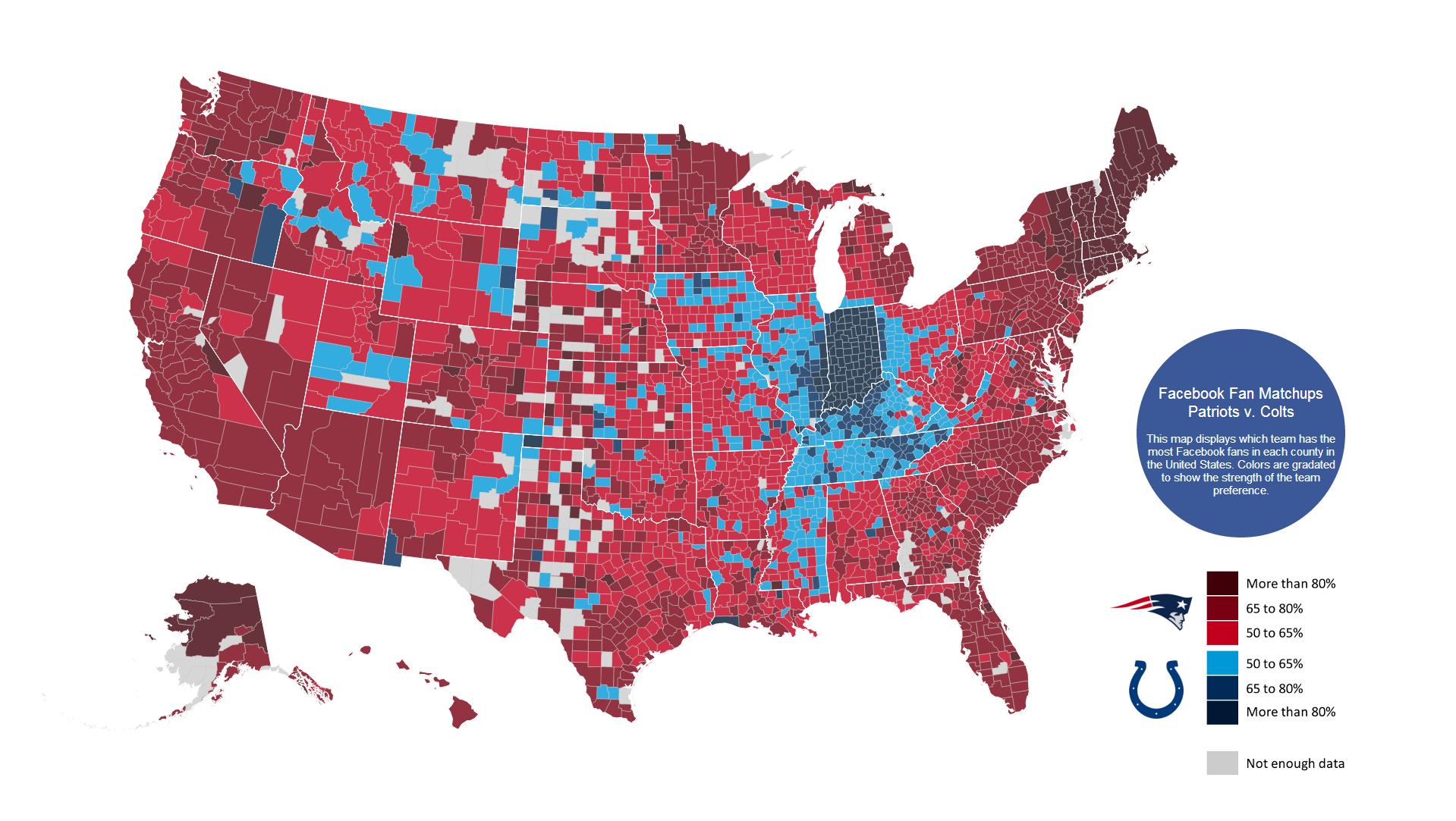 Facebook Fandom Maps For Nfl Divisional Round Playoff