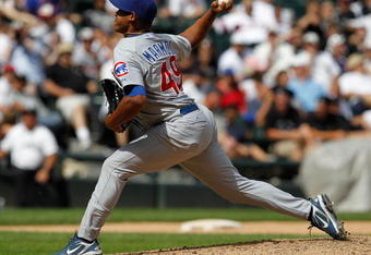 CHICAGO - JUNE 27: Carlos Marmol #49 of the Chicago Cubs pitches in the 9th inning against the Chicago White Sox at U.S. Cellular Field on June 27, 2010 in Chicago, Illinois. The Cubs defeated the White Sox 8-6. (Photo by Jonathan Daniel/Getty Images)