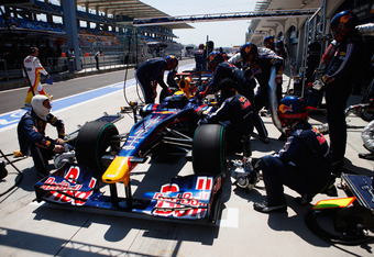ISTANBUL, TURKEY - JUNE 06:  Mark Webber of Australia and Red Bull Racing comes in for a pitstop during qualifying for the Turkish Formula One Grand Prix at Istanbul Park on June 6, 2009, in Istanbul, Turkey.  (Photo by Mark Thompson/Getty Images)
