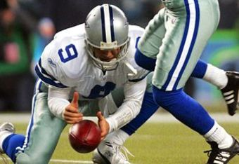 """Might T.O.'s """"negative energy"""" have been to blame for Tony Romo's botched field goal hold during the Cowboys' 2006 Wild Card loss to the Seahawks?"""