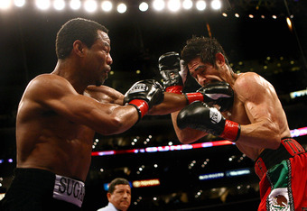 LOS ANGELES - JANUARY 24:   Shane Mosley lands a punch on Antonio Margarito en route to his TKO in the ninth round after Margarito's corner threw in the towel during their WBA welterweight title fight on January 24, 2009 at the Staples Center in Los Angel