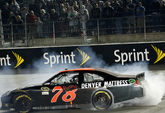 Smith celebrates his first win in Sprint Cup competition.