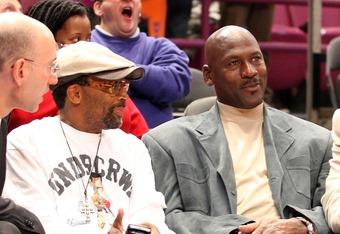 Jordan and Spike Lee, whose Nike commercials helped Jordan gain worldwide fame, visit in 2008.