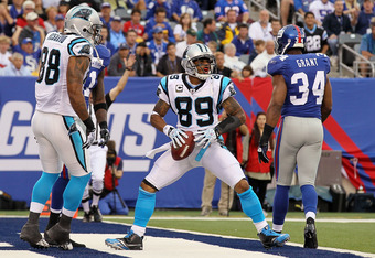 EAST RUTHERFORD, NJ - SEPTEMBER 12:  Steve Smith #89 of the Carolina Panthers celebrates his touchdown against the New York Giants on September 12, 2010 at the New Meadowlands Stadium in East Rutherford, New Jersey.  (Photo by Jim McIsaac/Getty Images)