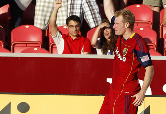 RSL Defender Nat Borchers scored his first goal of the season