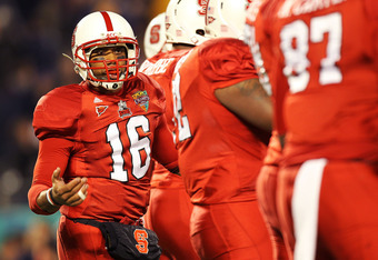 ORLANDO, FL - DECEMBER 28:  Russell Wilson #16 of the North Carolina State Wolfpack calls a play during the Champs Sports Bowl against the West Virginia Mountineers at Florida Citrus Bowl Stadium on December 28, 2010 in Orlando, Florida.  (Photo by Mike E