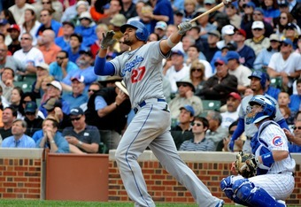 Matt Kemp leads all NL players in Wins Above Replacement (4.8) and OPS+ (194)