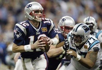 Tom Brady leading the Pats by Carolina in the Super Bowl.