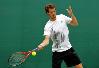 LONDON, ENGLAND - JUNE 28:  Andy Murray practices on Day Eight of the Wimbledon Lawn Tennis Championships at the All England Lawn Tennis and Croquet Club on June 28, 2011 in London, England.  (Photo by Stephen Pond/Pool/Getty Images)